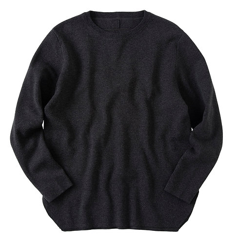 saby MILAN RIBS CREW NECK KNIT - 16G EXTRAFINE MERINO WOOL - CHARCOAL