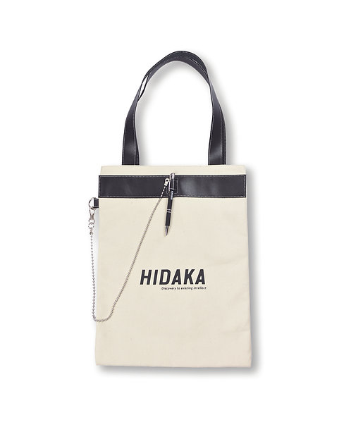 HIDAKA Pen buckle tote bag - White