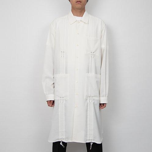 PORTVEL DRAWSTRING LONG SHIR T - White