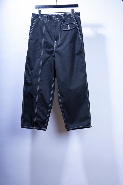 prasthana white stitch work pants - Black