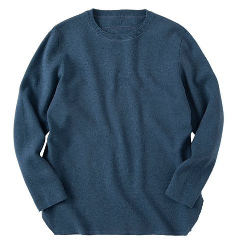 saby MILAN RIBS CREW NECK KNIT - 16G EXTRAFINE MERINO WOOL - BLUE GREEN