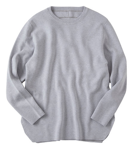 saby MILAN RIBS CREW NECK KNIT - 16G EXTRAFINE MERINO WOOL - ASH GRAY