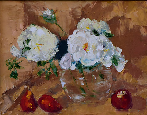 Still Life. Peonies and Pears by Janet Kolar