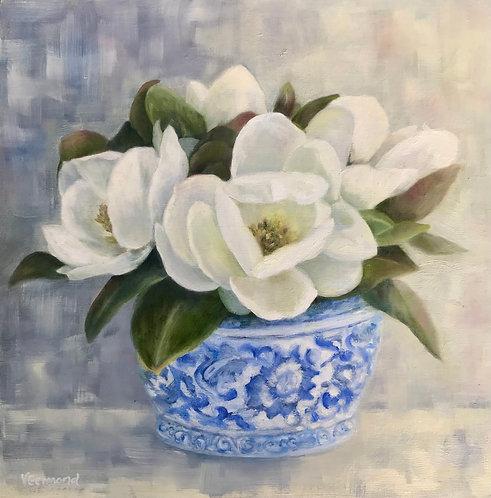 Magnolias in Blue Vase by Victoria Germond