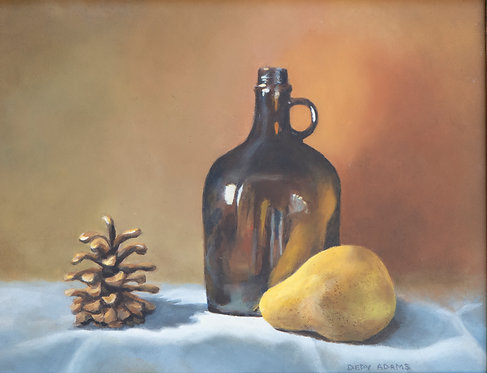 Brown Bottle, Pear and Pine Cone by Depy Adams