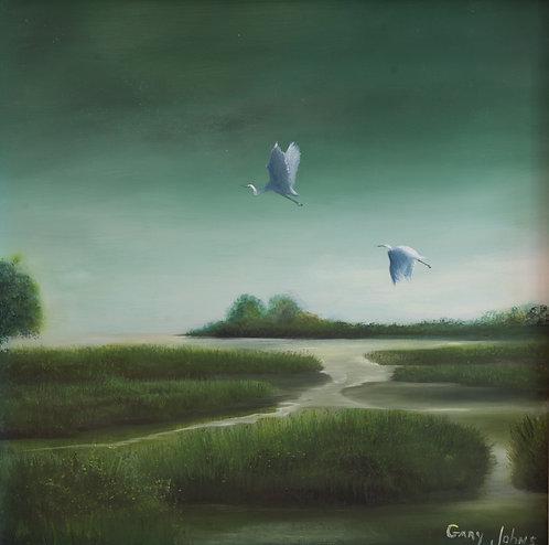 Moonlite on the Marsh by Gary Johns