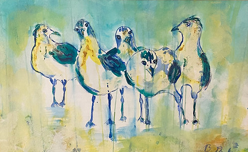 Abstract Gulls by Betsy Drake Hamilton