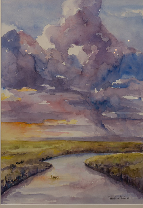Storm on the Marsh by Marlene Strobach