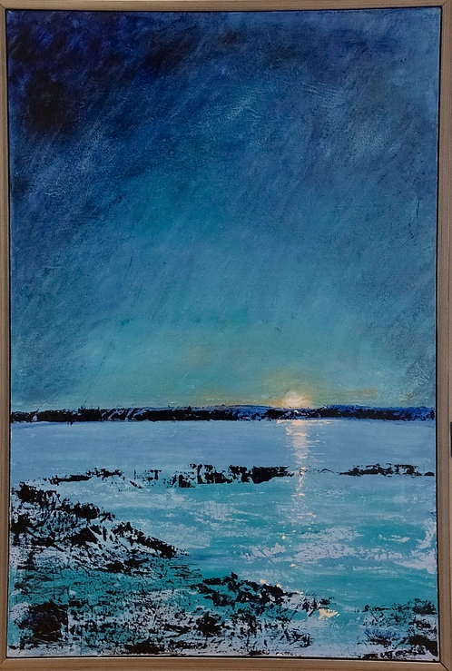 Moon Rise on Oyster Bed by Barbara Hopkins