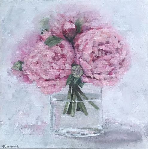 Pink Peony Bouquet in Glass Vase by Victoria Germond