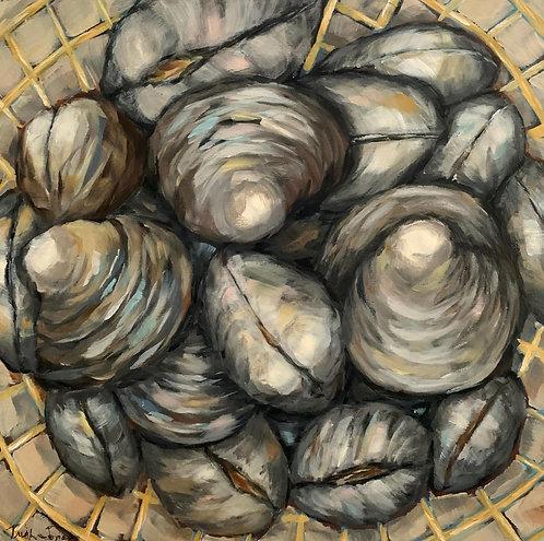 Basket of Clamshells by Trish Jones