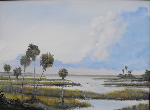 Palms in the Marsh by Ed Mosher
