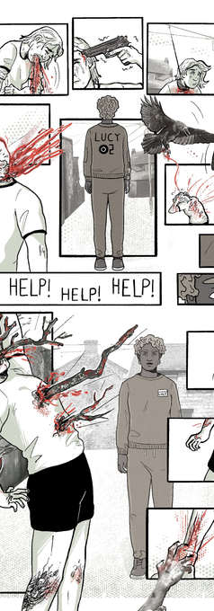 Page from Platform Comic's 10K Competition. Theme prompt of 'AI HORROR' (1/2)