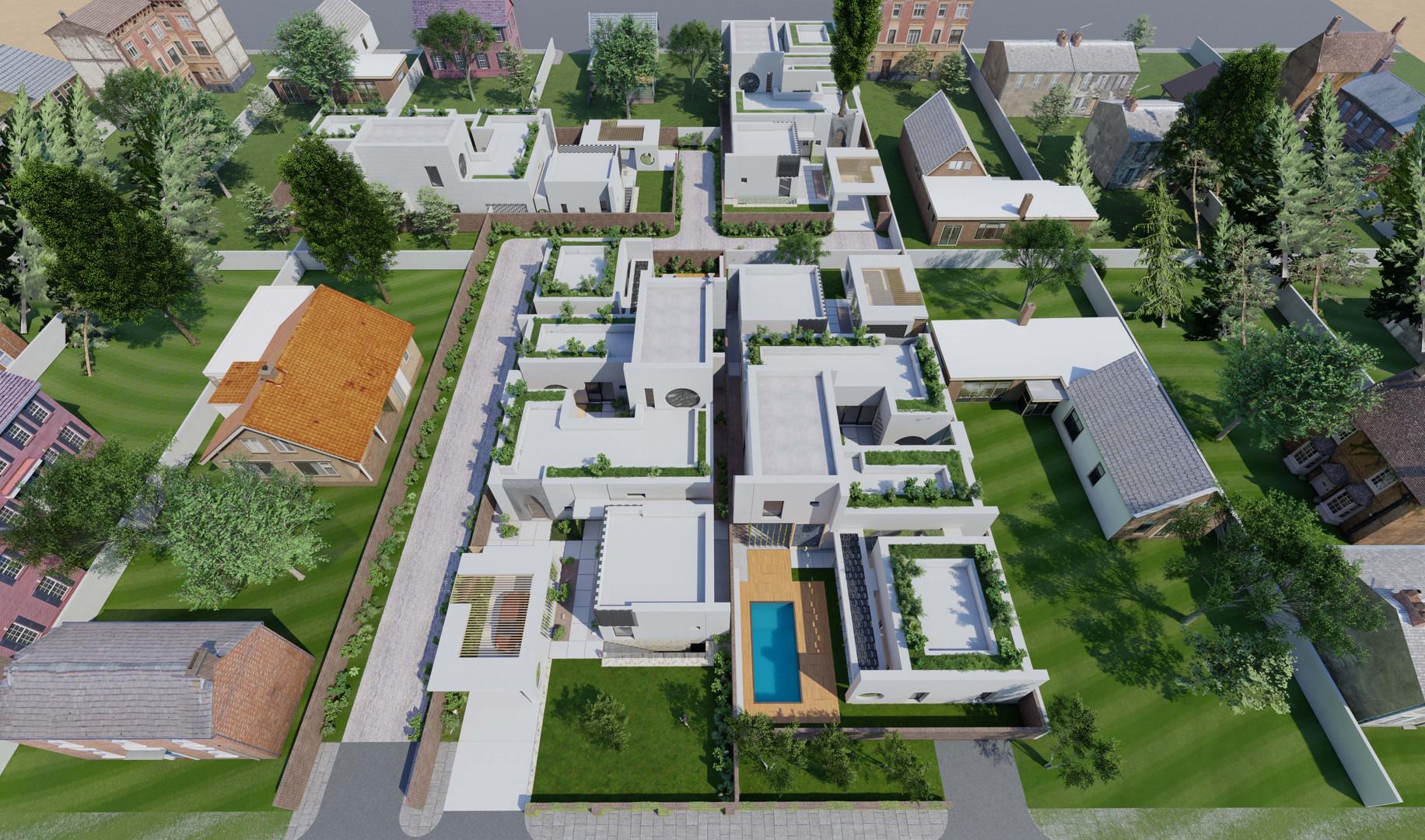 4 Houses Aerial