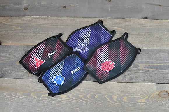 Faded Dots Design Mask with School Logo