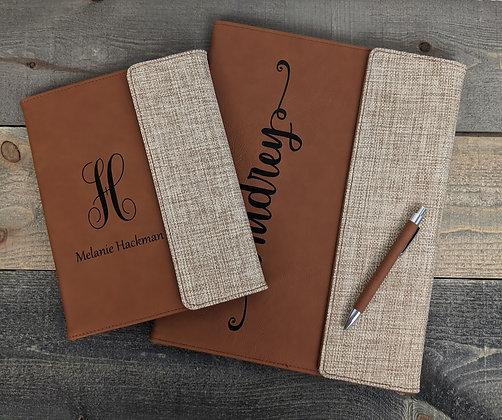 Burlap/Leatherette Padfolio with Matching Pen