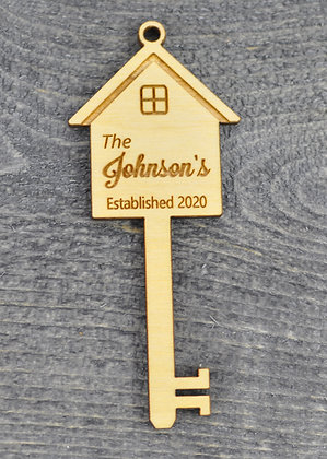 Wood Cut House key Ornament with Name