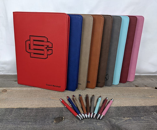 9.375x12.5 Leatherette Portfolio with Zipper and Matching Pen