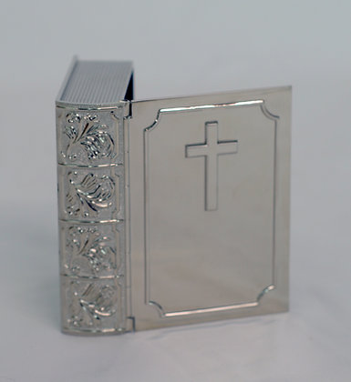 Silver Plated Bible Keepsake Box