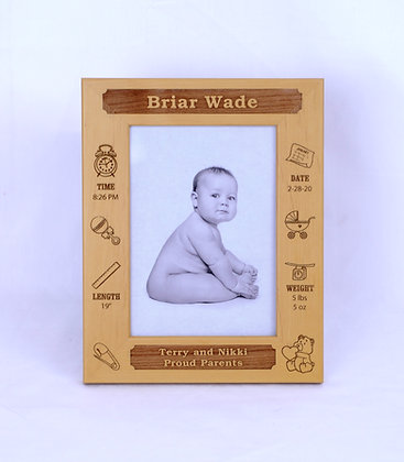 Wooden 5x7 Birth Record Frame
