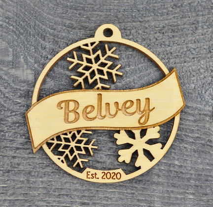 Wood Cut Snowflake Ornament with Name