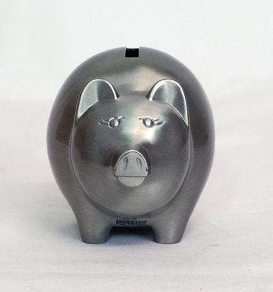 Large Pewter Finish Piggy Bank
