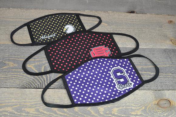 Polka Dot Design Mask with School Logo