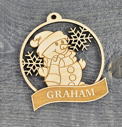 Wood Cut Snowman Ornament with Name