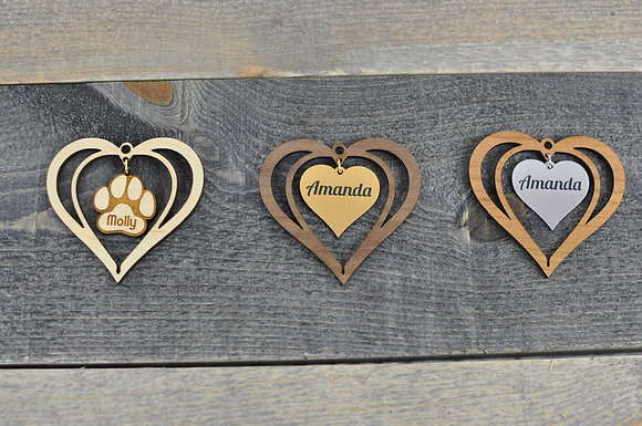 Wood Cut Heart Ornament with Insert