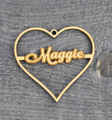 Wood Cut Out Heart Ornament with Name