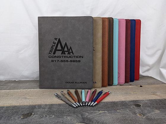 7x9 Leatherette Portfolio With Matching Pen
