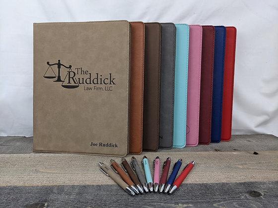 9x12 Leatherette Portfolio with Matching Pen