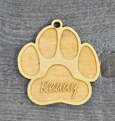Wood Cut Paw Print Ornament with Name