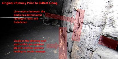 Cracks in chimney before Eldfast lining