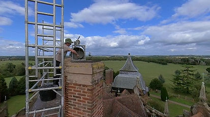 Slide casting at the top of the chimney