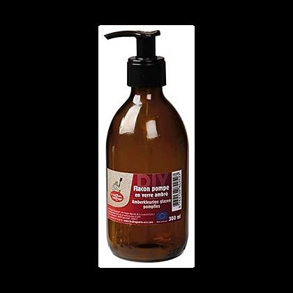 Flacon pompe en verre ambré 300 ml