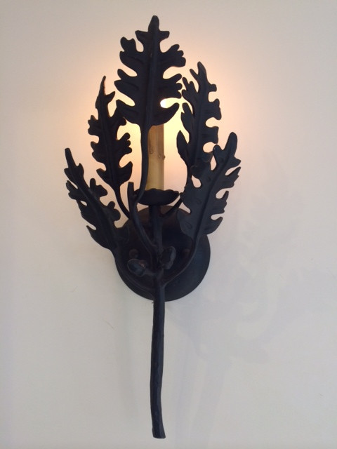 Artisan Twig and Oak Leaf Wall Sconce