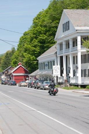 Motorcyclist riding through Wilmington, Vermont