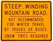 Warning sign for Roxbury Gap