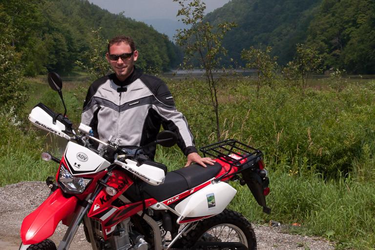 Eric Milano of Moto Vermont with KLX250