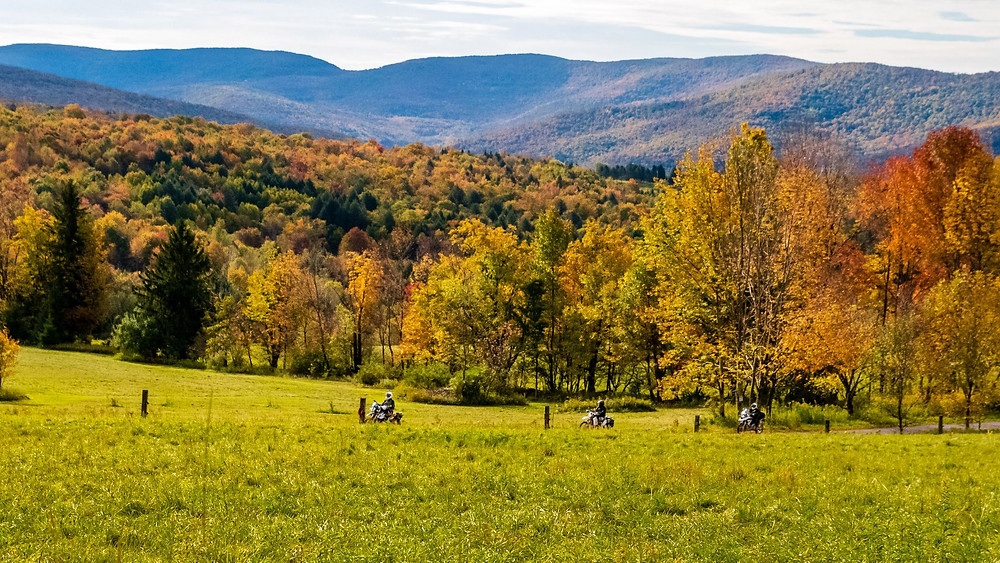 Motorcyclists riding on the Northeast Backcountry Discovery Route in NY State