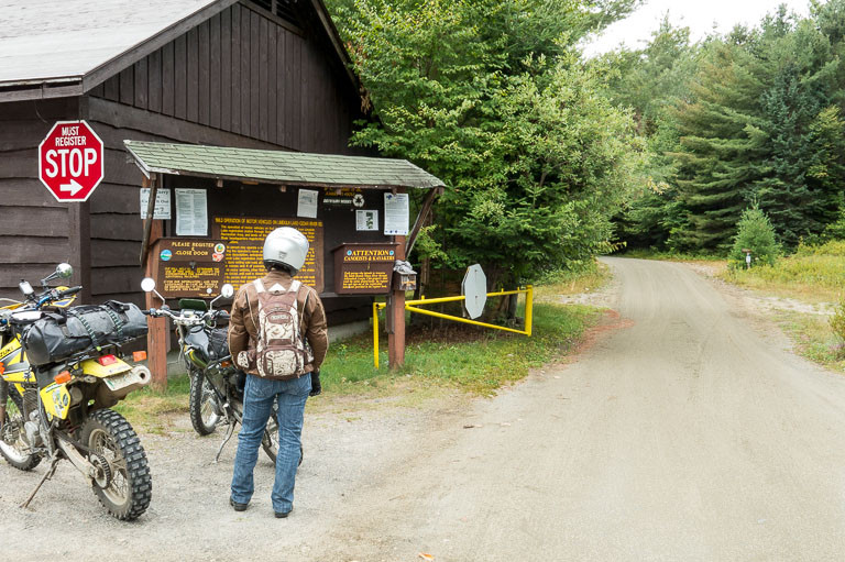 Jean looks disappointed at the entrance to Moose River Plains