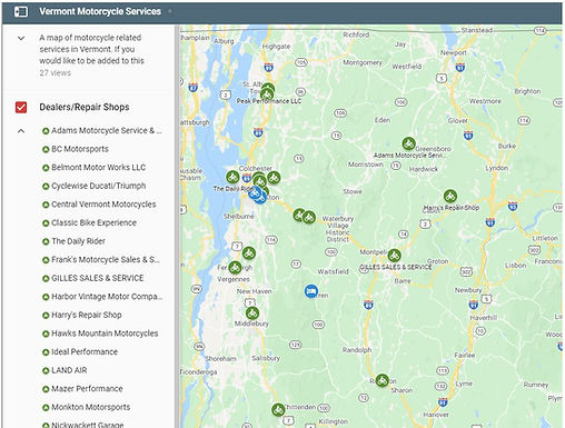 Motorcycle-Vermont Add Vermont Motorcycle Services Map