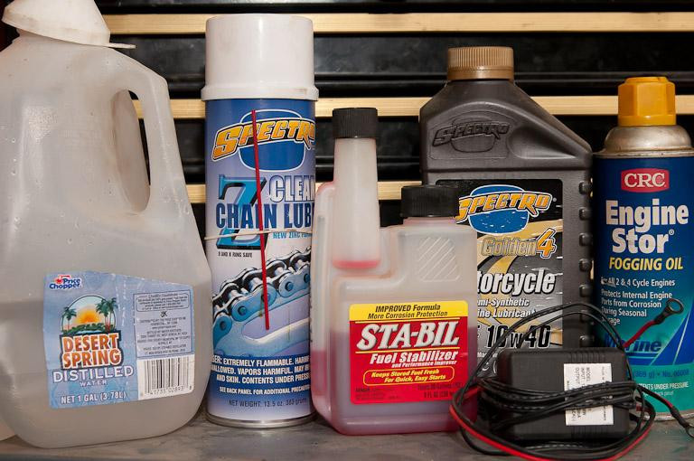 Supplies for putting your motorcycle away for the season