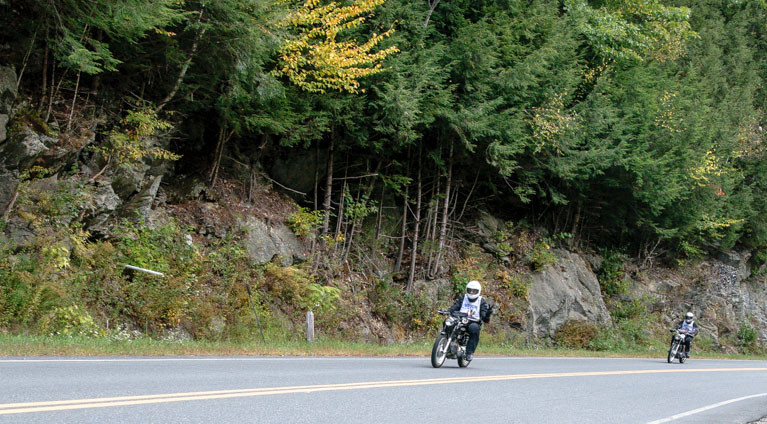 Riders competing in the 2011 MotoGiro on VT-100A in Bridgewater, VT