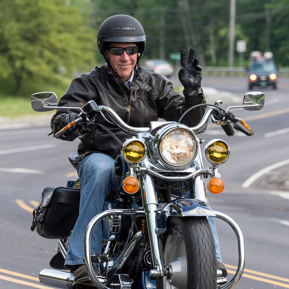 Governor Scott riding his motorcycle during happier times