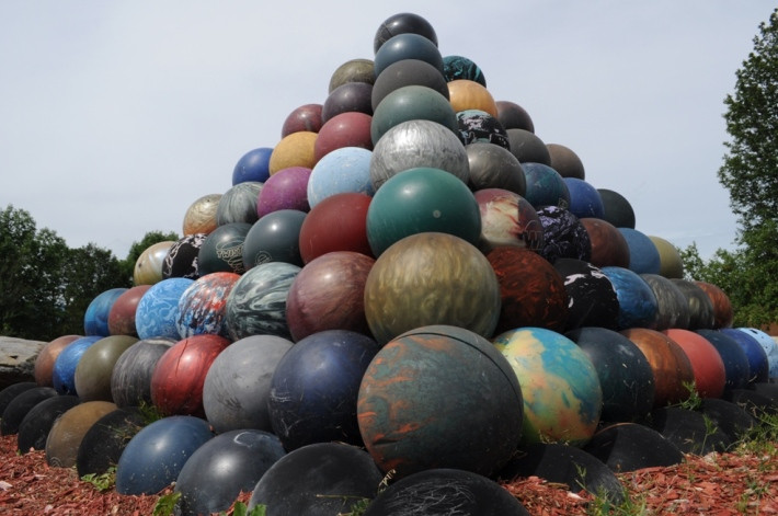 The bowling ball pyramid on route 58