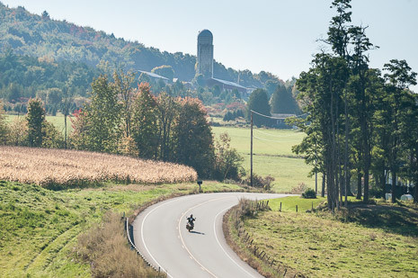 Motorcycle rider on a Vermont country road