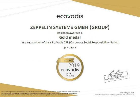O grupo Zeppelin recebe classificação de ouro pela sustentabilidade de resp. social corporativa (CSR) - EcoVadis