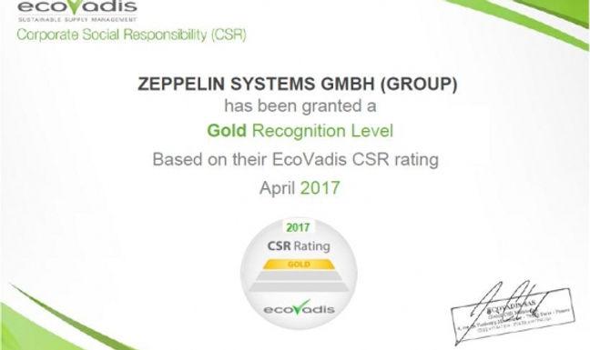 Responsabilidade corporativa (CSR) - EcoVadis confirma o compromisso ambiental e social da Zeppelin